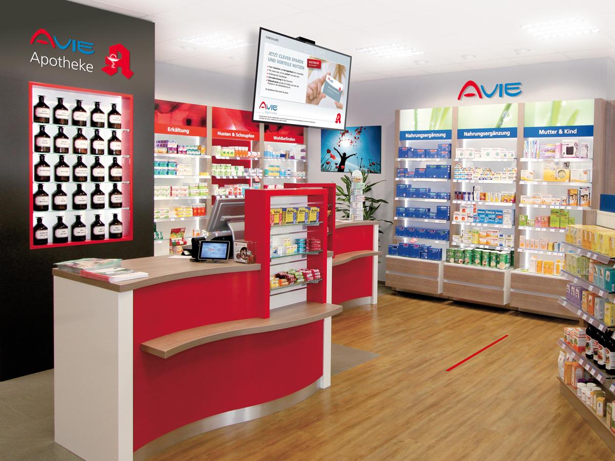 Inneneinrichtung einer AVIE Apotheke in Dortmund